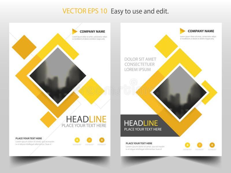 Κίτρινο τετραγωνικό σχέδιο προτύπων ετήσια εκθέσεων ιπτάμενων φυλλάδιων επιχειρησιακών φυλλάδιων, σχέδιο σχεδιαγράμματος κάλυψης  διανυσματική απεικόνιση
