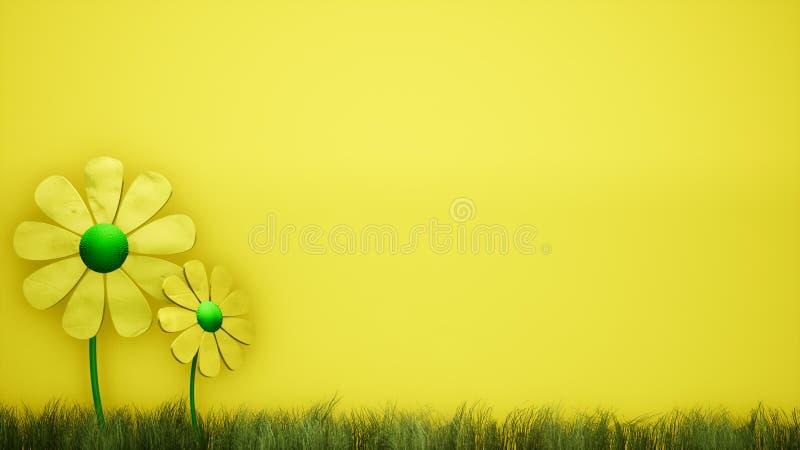 Κίτρινο υπόβαθρο απεικόνισης λουλουδιών τρισδιάστατο αφηρημένο απεικόνιση αποθεμάτων