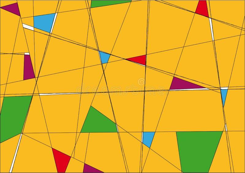 Κίτρινο υπόβαθρο με τα πολύχρωμα αναδρομικά τριγωνικά σχέδια στοκ εικόνες