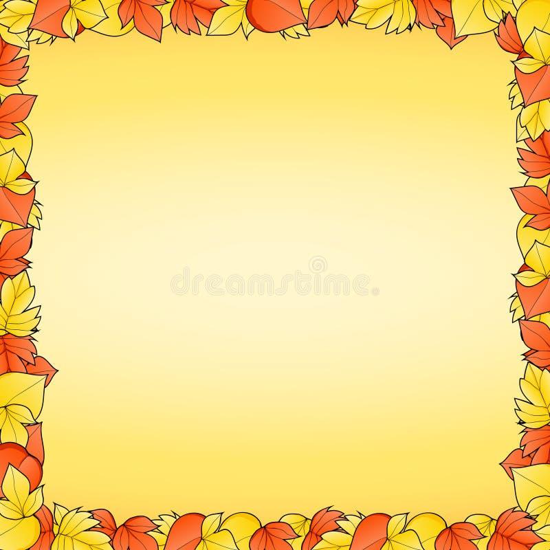Κίτρινο υπόβαθρο με το πλαίσιο των φύλλων κοκκίνου και φθινοπώρου στοκ φωτογραφία με δικαίωμα ελεύθερης χρήσης