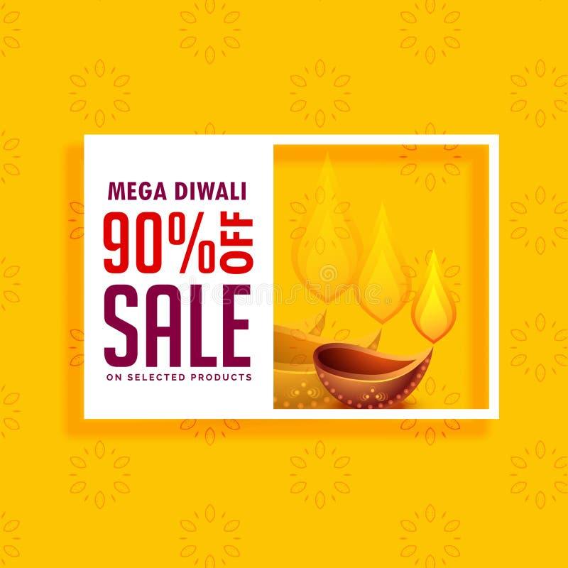 Κίτρινο υπόβαθρο πώλησης για την εποχή diwali με το diya απεικόνιση αποθεμάτων