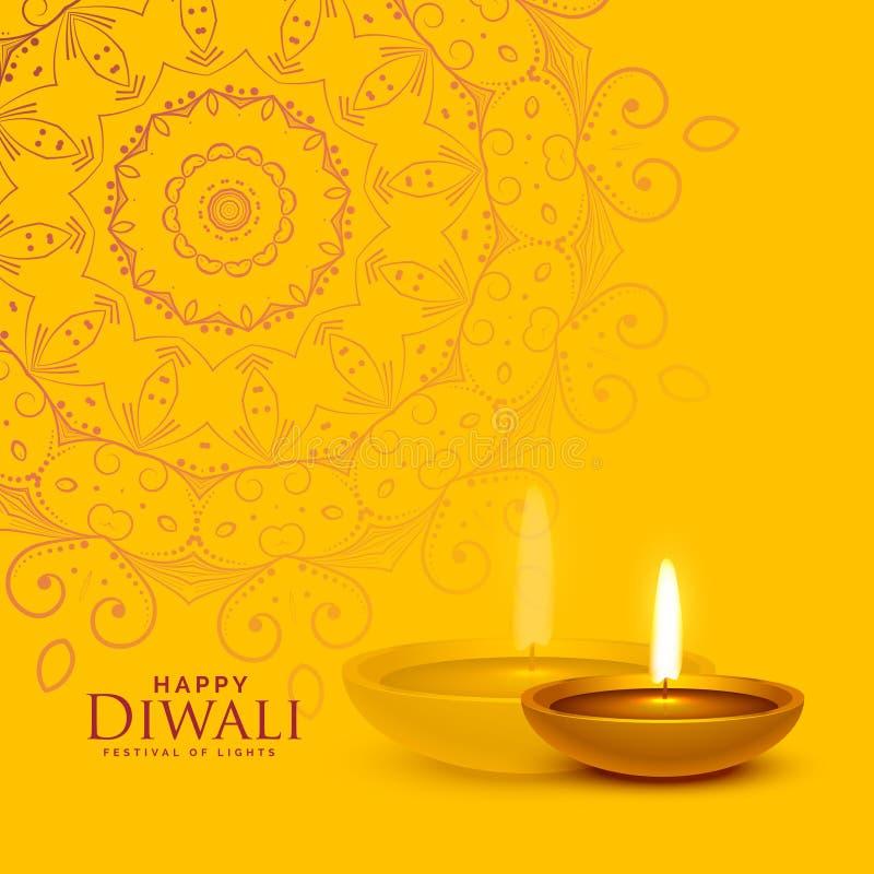 Κίτρινο υπόβαθρο φεστιβάλ με την τέχνη λαμπτήρων και mandala diya diwali ελεύθερη απεικόνιση δικαιώματος