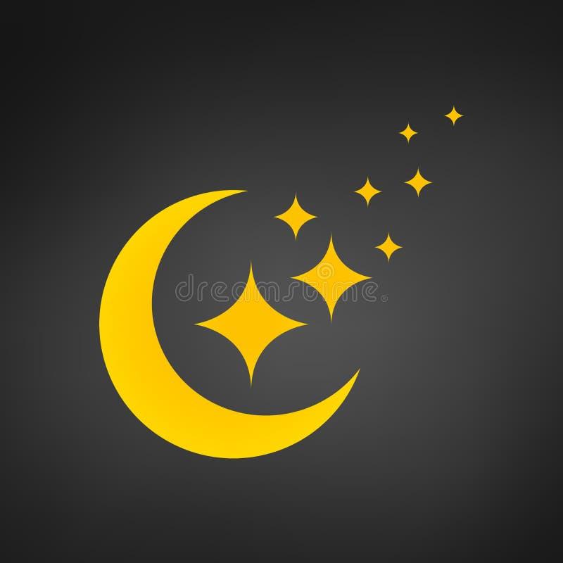 Κίτρινο φεγγάρι και διανυσματικό εικονίδιο αστεριών, σύγχρονο επίπεδο σύμβολο που απομονώνεται στο μαύρο υπόβαθρο ελεύθερη απεικόνιση δικαιώματος