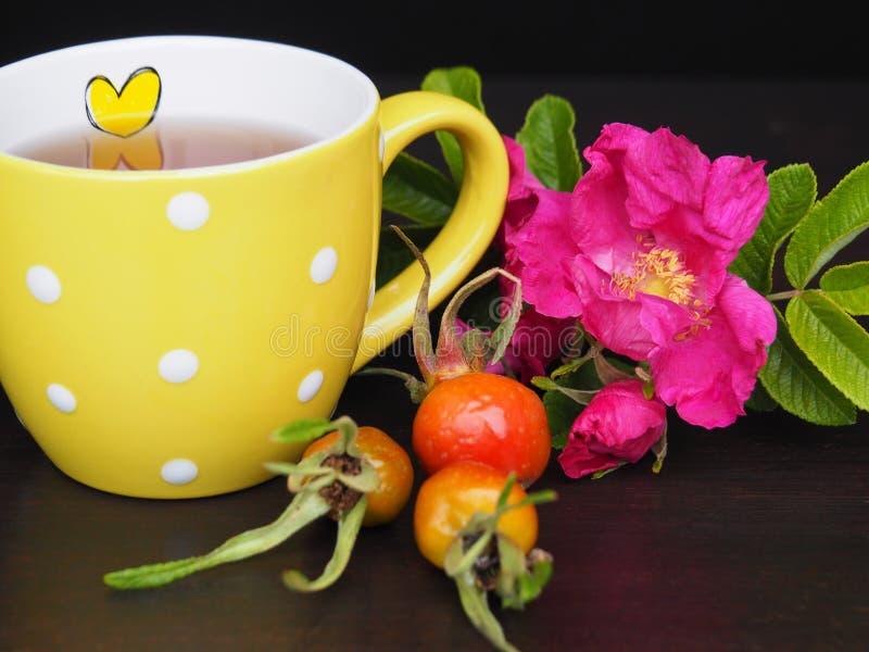 Κίτρινο φλυτζάνι με το τσάι στοκ φωτογραφίες με δικαίωμα ελεύθερης χρήσης