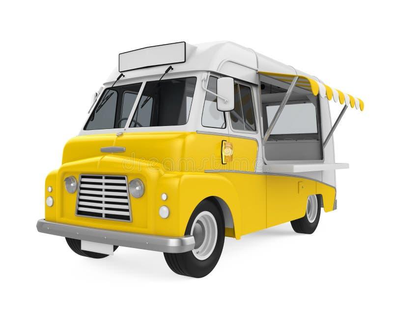 Κίτρινο φορτηγό τροφίμων που απομονώνεται διανυσματική απεικόνιση