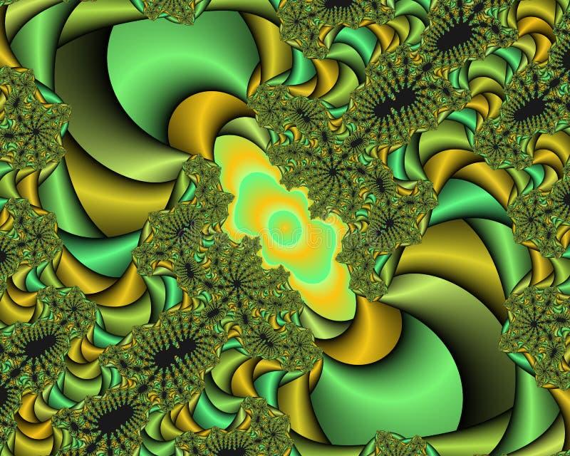 Κίτρινο φωσφορίζον πράσινο φωτεινό αφηρημένο fractal αφηρημένο υπόβαθρο, flowery σύσταση ελεύθερη απεικόνιση δικαιώματος