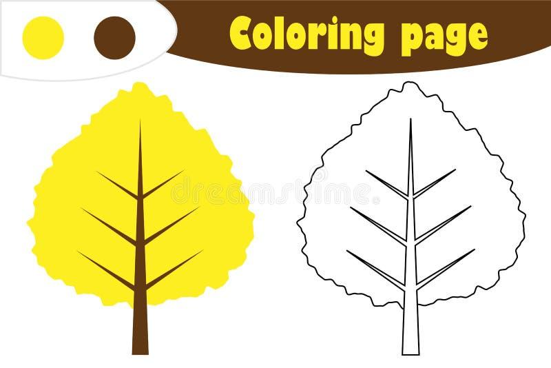 Κίτρινο φύλλο στο ύφος κινούμενων σχεδίων, χρωματίζοντας σελίδα φθινοπώρου, παιχνίδι εγγράφου εκπαίδευσης για την ανάπτυξη των πα ελεύθερη απεικόνιση δικαιώματος