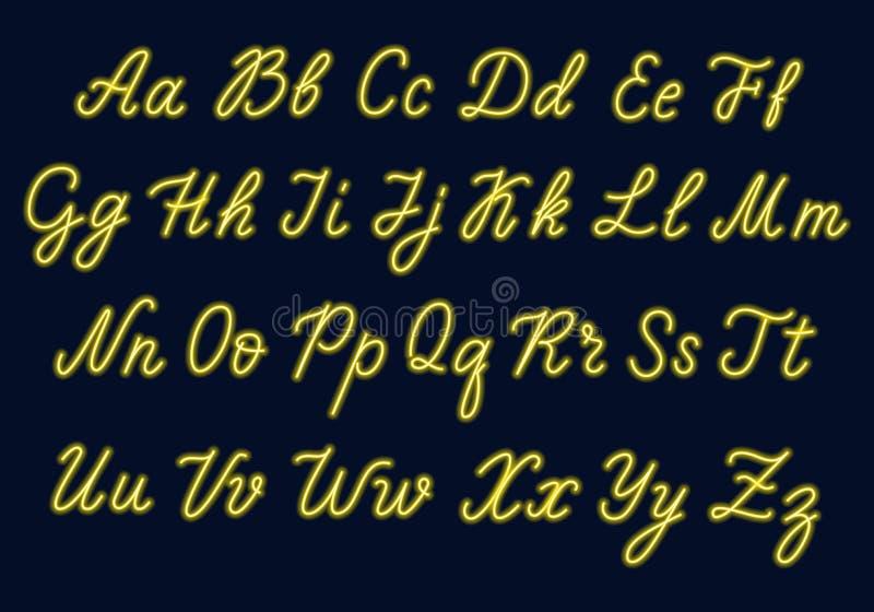 Κίτρινο χειρόγραφο νέου Κεφαλαίες και πεζές επιστολές ελεύθερη απεικόνιση δικαιώματος