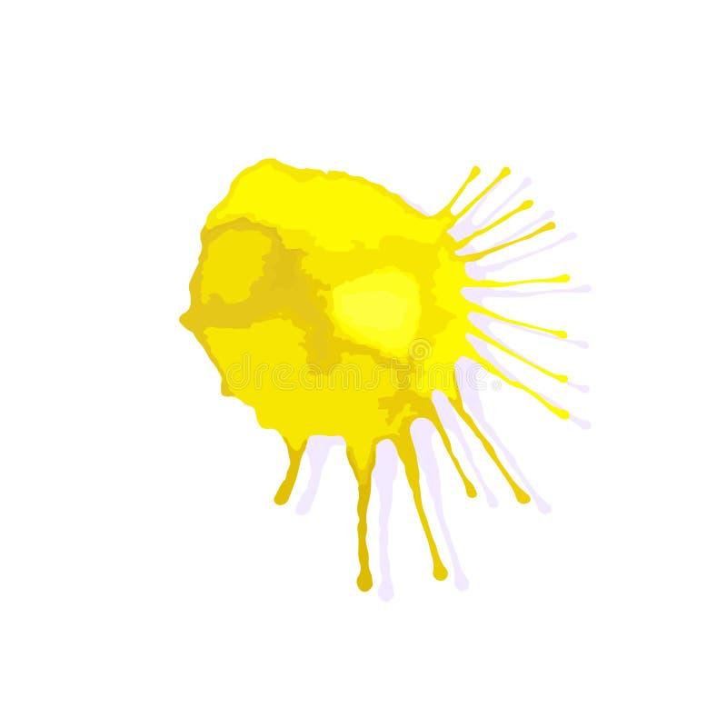 Κίτρινο χρωματισμένο έμβλημα Λεκές μελανιού παφλασμών abstract background grunge illustration vector διανυσματική απεικόνιση