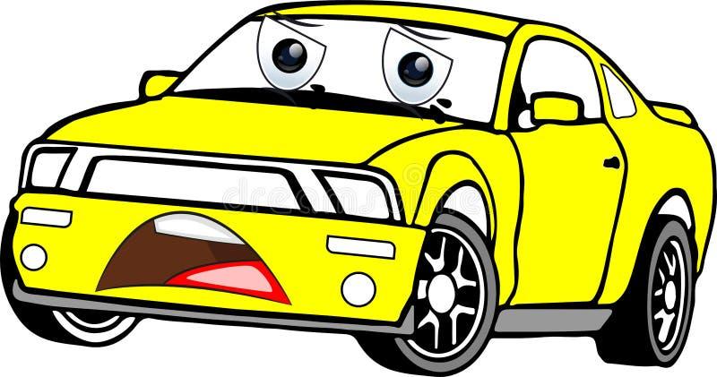 Κίτρινο χρωματισμένο αυτοκίνητο κινούμενων σχεδίων στοκ φωτογραφίες με δικαίωμα ελεύθερης χρήσης