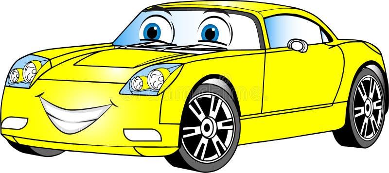 Κίτρινο χρωματισμένο αυτοκίνητο κινούμενων σχεδίων στοκ φωτογραφία