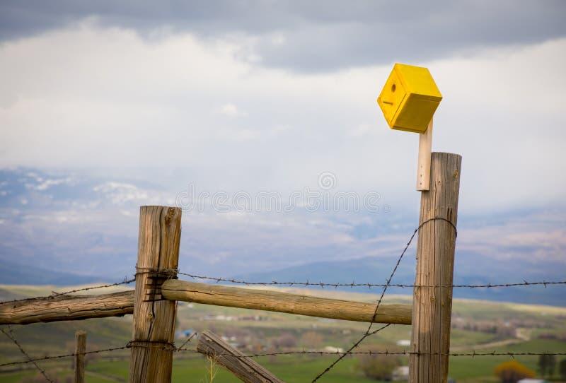 Κίτρινο Birdhouse σε έναν οδοντωτό - φράκτης καλωδίων στοκ φωτογραφία
