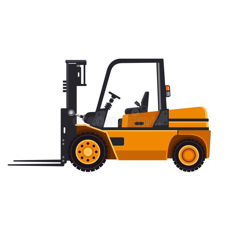 Κίτρινο Forklift φορτηγό φορτωτών που απομονώνεται στο λευκό απεικόνιση αποθεμάτων