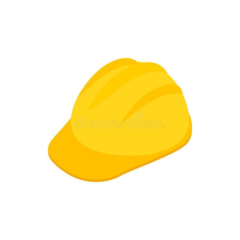 Κίτρινο hardhat εικονίδιο, isometric τρισδιάστατο ύφος απεικόνιση αποθεμάτων