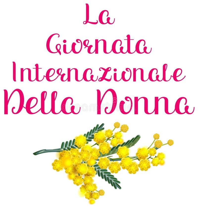 Κίτρινο mimosa ακακιών διακοπών της Ιταλίας donna della Λα Giornata internazionale Μετάφραση κειμένων ημέρας γυναικών από τα ιταλ διανυσματική απεικόνιση