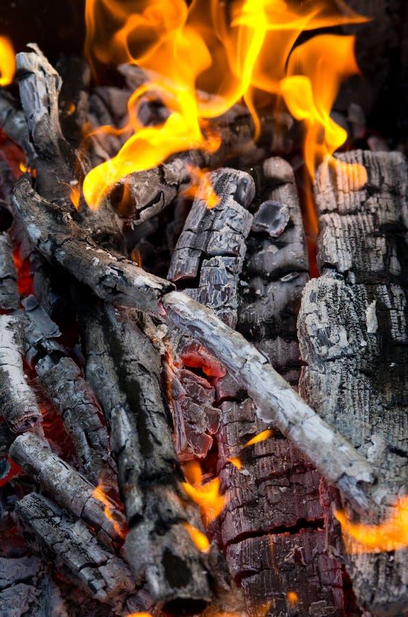 καίγοντας άνθρακες στοκ εικόνα