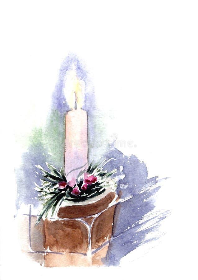 Καίγοντας διακόσμηση κεριών και Χριστουγέννων στο άσπρο υπόβαθρο Συρμένη χέρι απεικόνιση Watercolor Μαγική εορταστική διάθεση καθ ελεύθερη απεικόνιση δικαιώματος