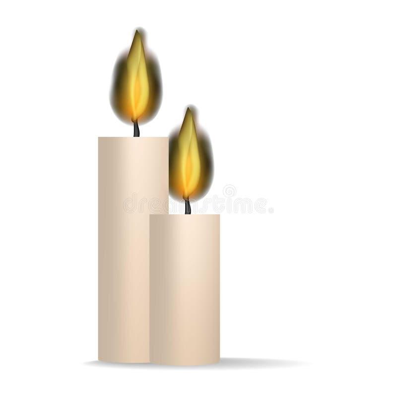 Καίγοντας εικονίδιο κεριών, ρεαλιστικό ύφος απεικόνιση αποθεμάτων