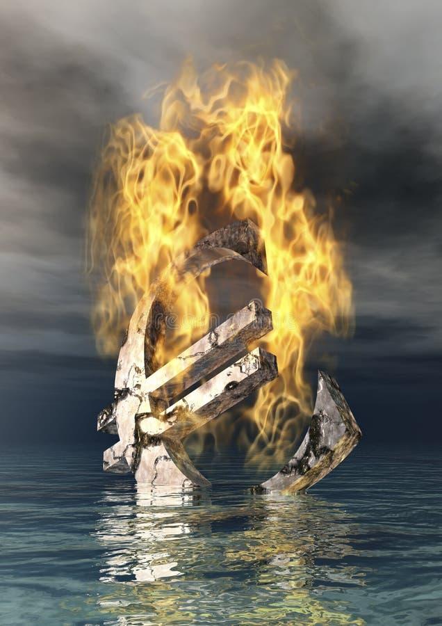 Καίγοντας ευρο- σημάδι ελεύθερη απεικόνιση δικαιώματος