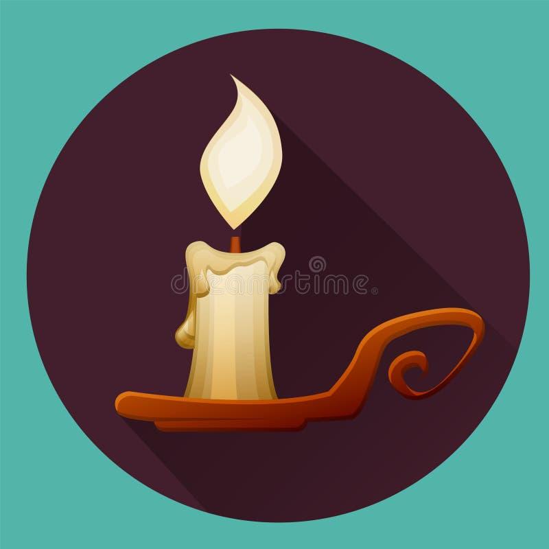 Καίγοντας κερί κινούμενων σχεδίων στο κηροπήγιο απομονωμένος απεικόνιση αποθεμάτων