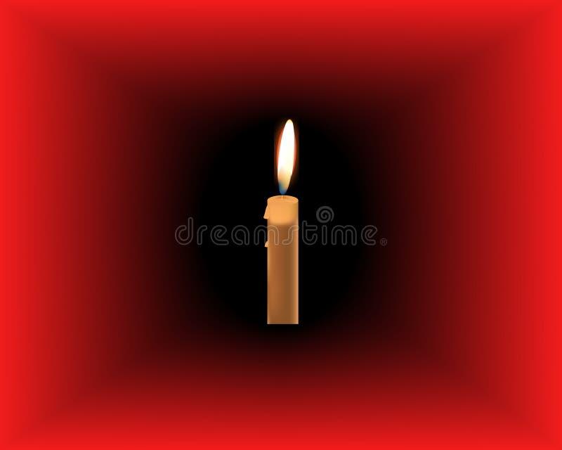 Καίγοντας κερί στο σκούρο κόκκινο υπόβαθρο διανυσματική απεικόνιση