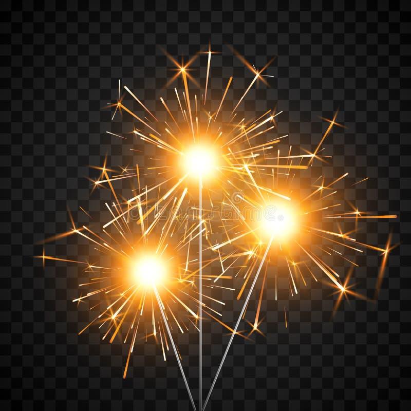 Καίγοντας λαμπρό πυροτέχνημα sparkler Πυρκαγιά της Βεγγάλης Στοιχείο ντεκόρ κόμματος Μαγικό φως Ρεαλιστική ελαφριά επίδραση r απεικόνιση αποθεμάτων