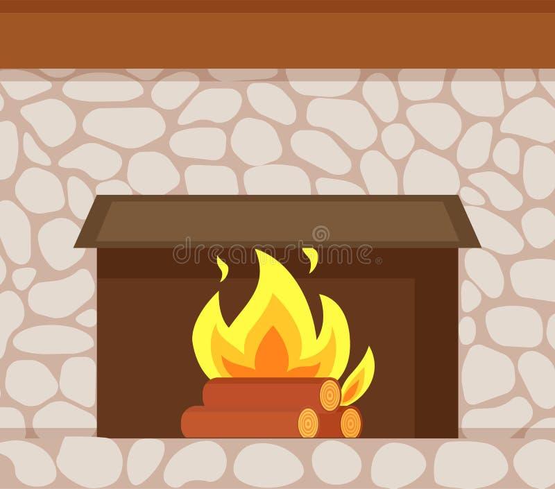Καίγοντας πυρκαγιά, ξύλινα κούτσουρα, εστία φιαγμένη από Stone διανυσματική απεικόνιση