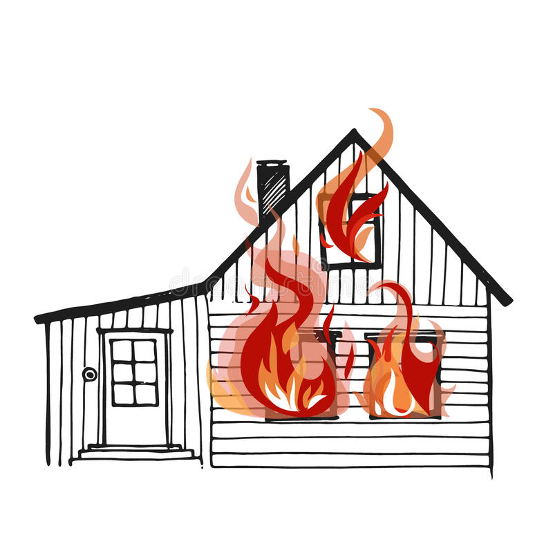 Καίγοντας σπίτι στο άσπρο bacground ελεύθερη απεικόνιση δικαιώματος