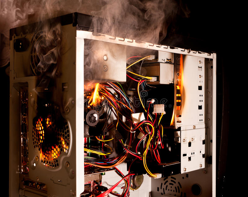 καίγοντας υπολογιστής στοκ εικόνα