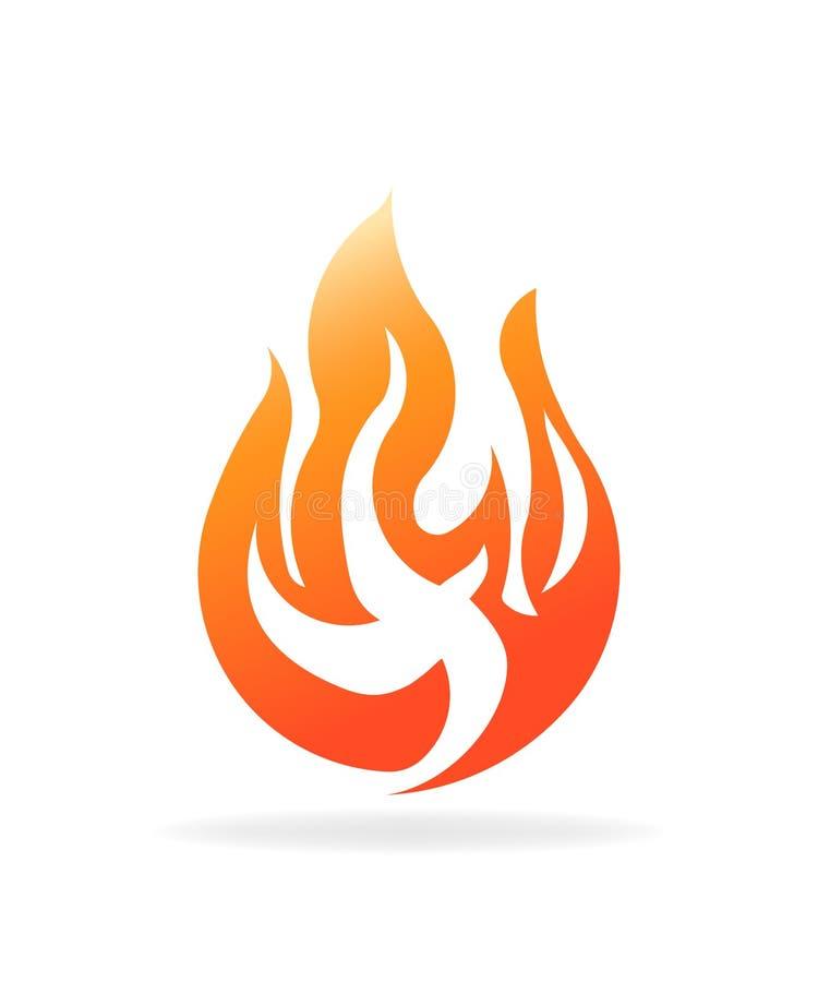 καίγοντας φλόγα πυρκαγιάς Διανυσματικό σχέδιο λογότυπων ελεύθερη απεικόνιση δικαιώματος
