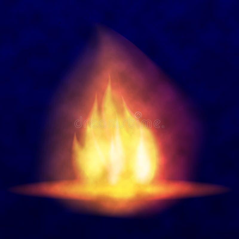 Καίγοντας φωτιά Καυτή τρέμοντας φλόγα με τους σπινθήρες γλώσσες φλογών Τρεμούλιασμα ενός φανού Φωτεινή επίδραση καψίματος του α απεικόνιση αποθεμάτων