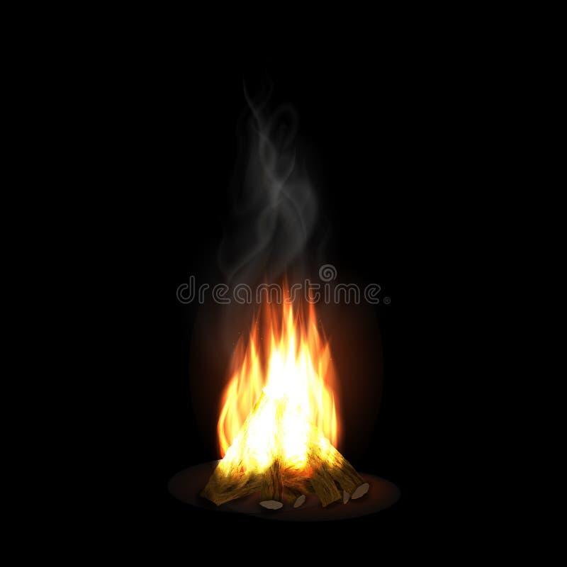 Καίγοντας φωτιά με το ξύλο διανυσματική απεικόνιση