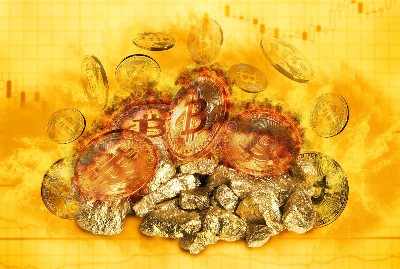 Καίγοντας bitcoin νόμισμα και ανάχωμα των χρυσών ψηγμάτων στοκ φωτογραφίες