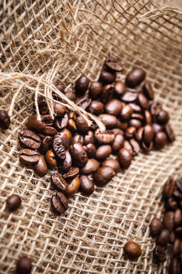 Καβουρντισμένοι κόκκοι καφέ στοκ φωτογραφίες