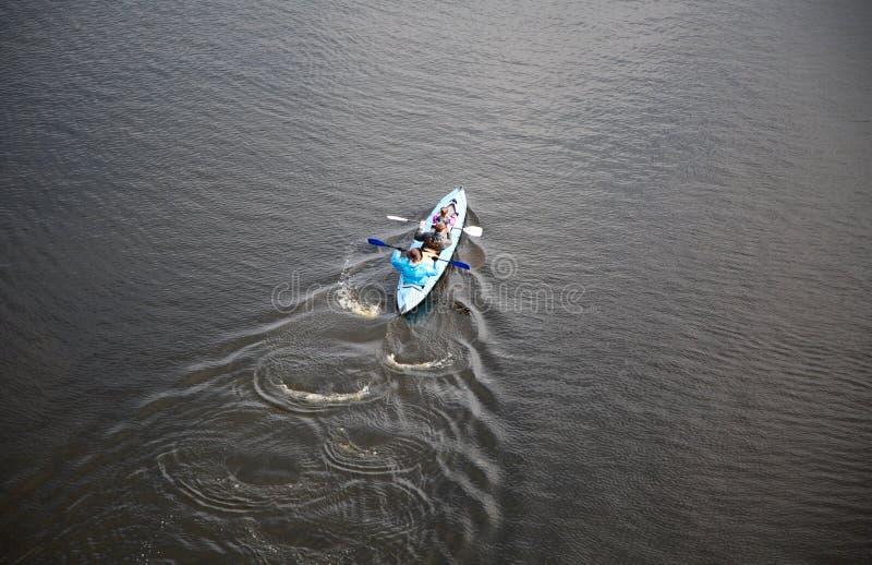 Καγιάκ. Άνθρωποι που στον ποταμό Dnipro. Κίεβο, Ουκρανία. στοκ φωτογραφία με δικαίωμα ελεύθερης χρήσης