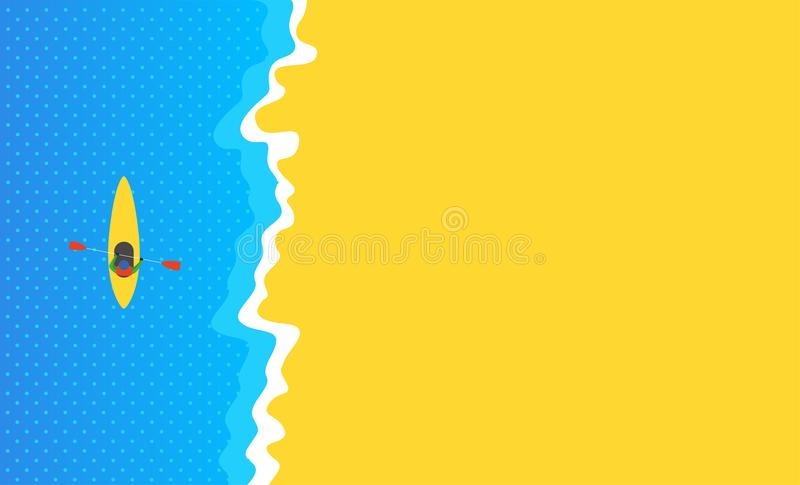 Καγιάκ θάλασσας στην μπλε θάλασσα κοντά στην κίτρινη αμμώδη παραλία Επίπεδο σχέδιο με την ελαφριά κλίση και τα σημεία επάνω από τ απεικόνιση αποθεμάτων