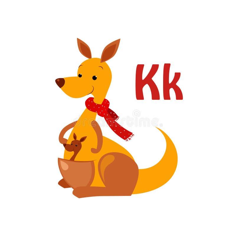 Καγκουρό Αστείο αλφάβητο, ζωική διανυσματική απεικόνιση διανυσματική απεικόνιση