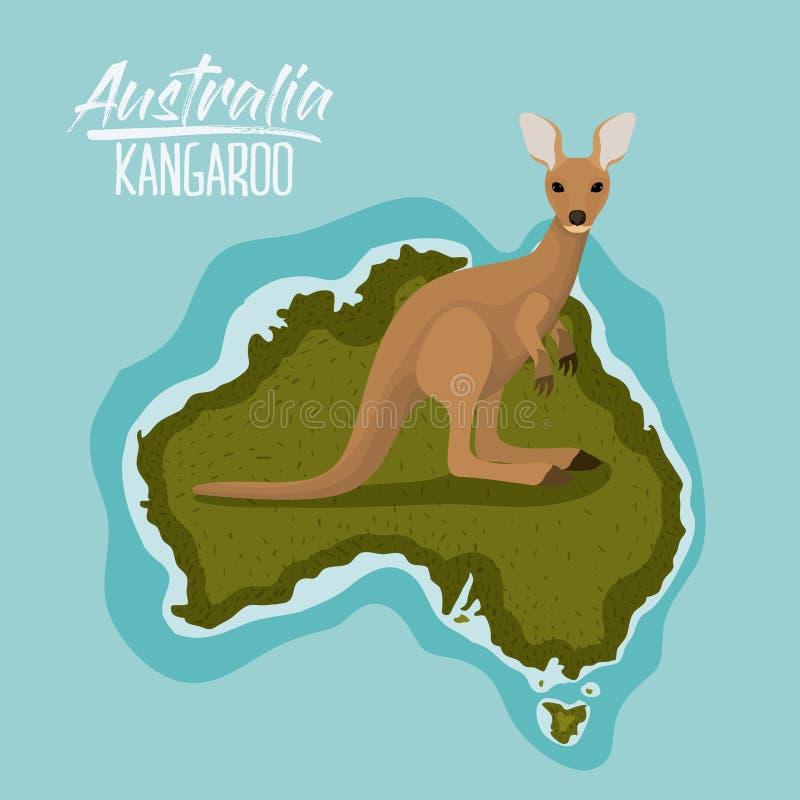 Καγκουρό αφισών στο χάρτη της Αυστραλίας σε πράσινο που περιβάλλεται από τον ωκεανό διανυσματική απεικόνιση