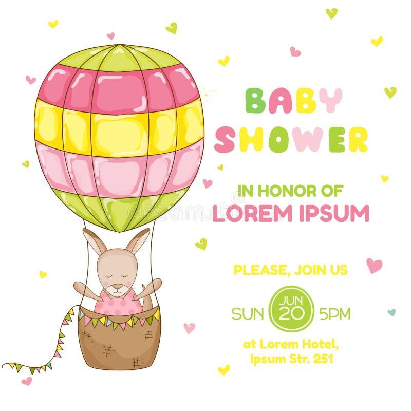 Καγκουρό κοριτσάκι με ένα μπαλόνι - ντους μωρών ή κάρτα άφιξης διανυσματική απεικόνιση