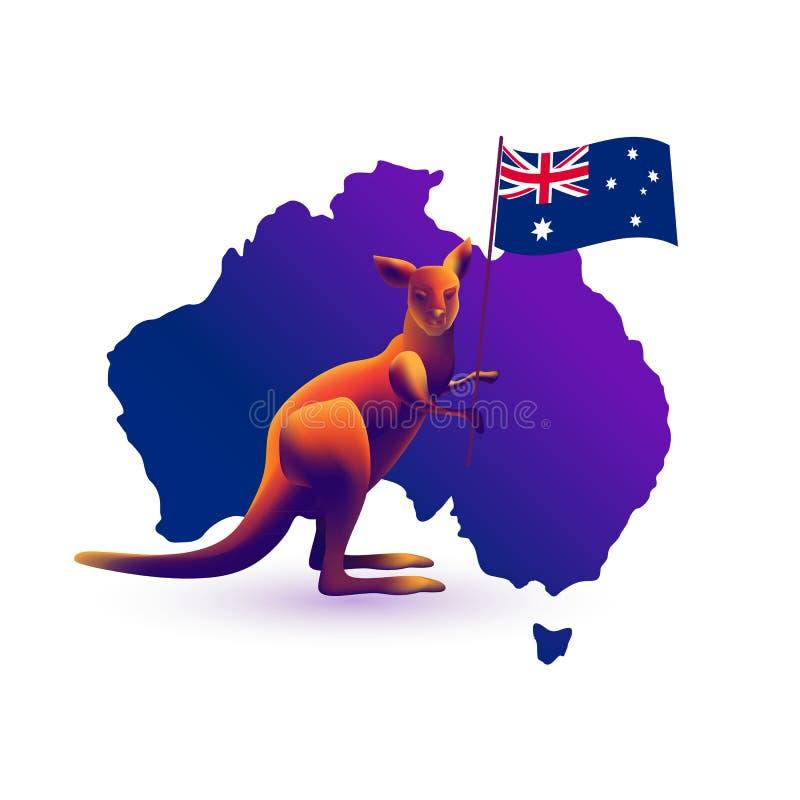 Καγκουρό, χάρτης και σημαία της Αυστραλίας διάνυσμα ελεύθερη απεικόνιση δικαιώματος