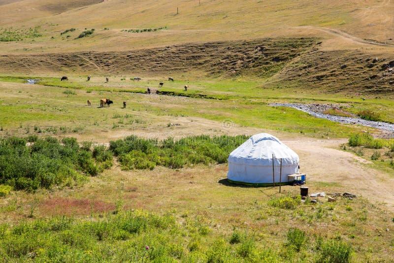 Καζάκος yurt στο οροπέδιο Assy στο βουνό της Τιέν Σαν στο Αλμάτι, Καζακστάν, Ασία στο καλοκαίρι στοκ φωτογραφία
