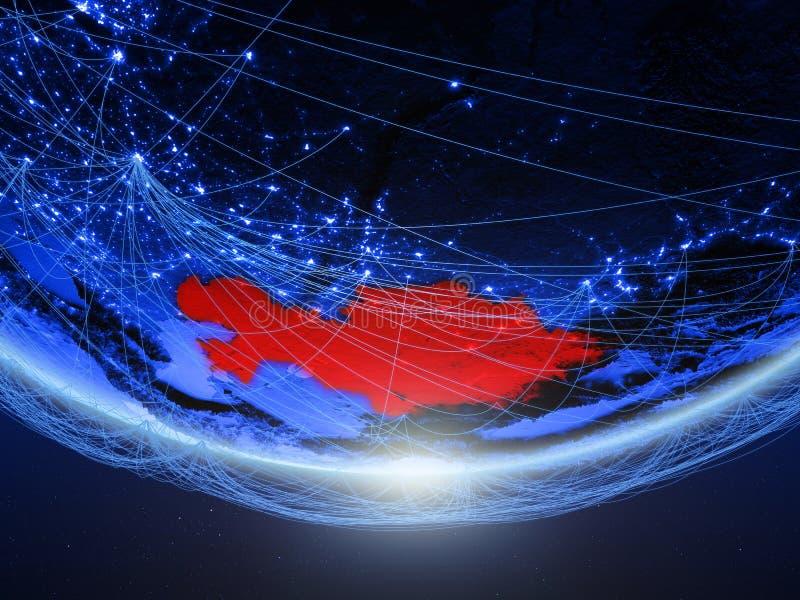 Καζακστάν από το διάστημα με το δίκτυο διανυσματική απεικόνιση