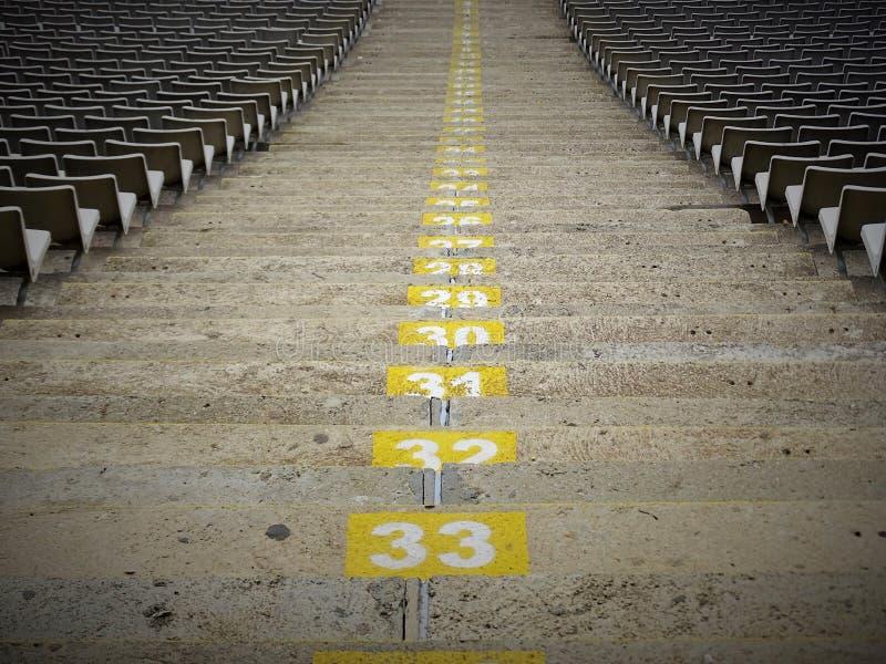 Καθίσματα σε Stadion της Βαρκελώνης στοκ φωτογραφία με δικαίωμα ελεύθερης χρήσης