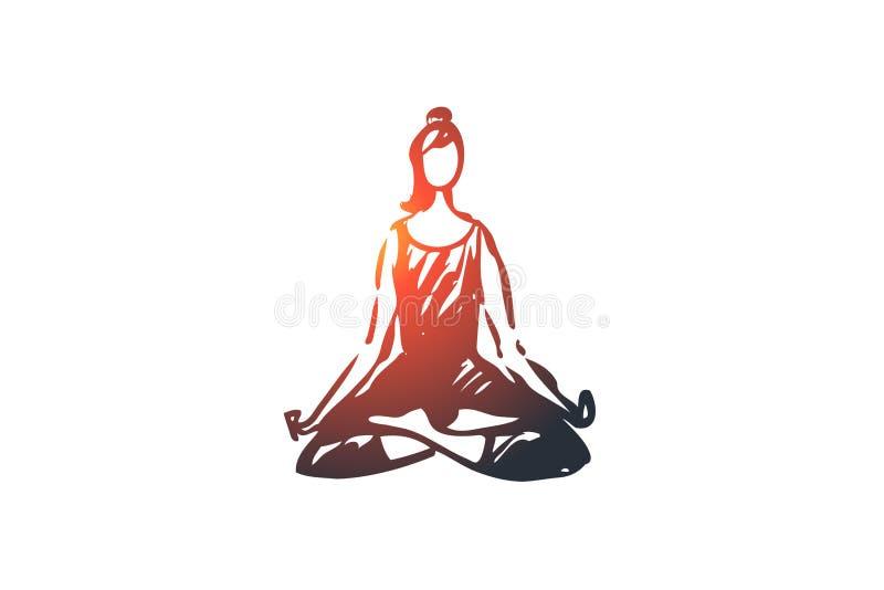 Καθίστε, λωτός, θέστε, γυναίκα, χαλαρώστε, έννοια γιόγκας Συρμένο χέρι απομονωμένο διάνυσμα διανυσματική απεικόνιση