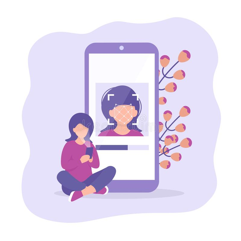 Καθίστε στο τηλέφωνο ταυτότητας προσώπου πατωμάτων διανυσματική απεικόνιση