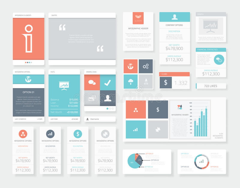 Καθαρά και φρέσκα διανυσματικά στοιχεία infographics ενδιάμεσων με τον χρήστη (ui) διανυσματική απεικόνιση