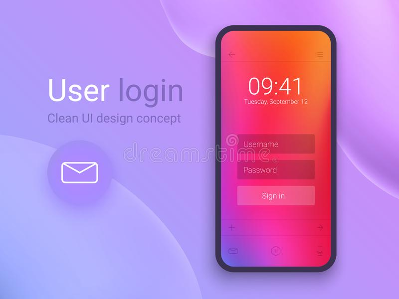 Καθαρή κινητή έννοια σχεδίου UI Εφαρμογή σύνδεσης με το παράθυρο μορφής κωδικού πρόσβασης Καθιερώνουσες τη μόδα ολογραφικές κλίσε απεικόνιση αποθεμάτων