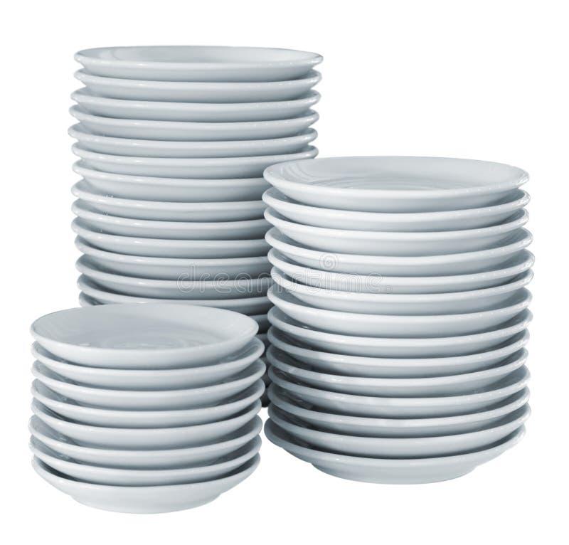 καθαρή πλευρά πιάτων σωρών στοκ φωτογραφία