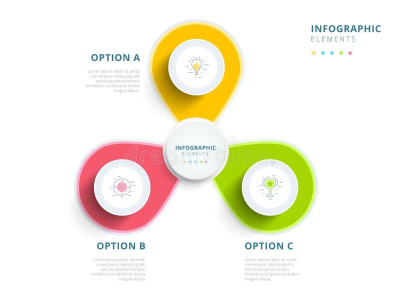Καθαρή minimalistic επιχείρηση 3 WI infographics διαγραμμάτων διαδικασίας βημάτων ελεύθερη απεικόνιση δικαιώματος