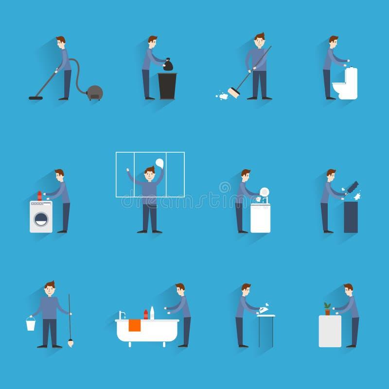 Καθαρίζοντας άνθρωποι οριζόντια απεικόνιση αποθεμάτων